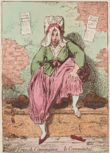 Eighteenth-century woman perched on public convenience.