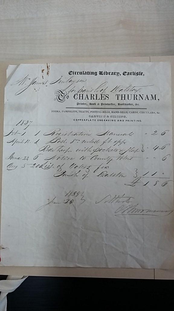 Charles Thurnam Dalston Overseers Voucher SPC2/44/47/6 1837