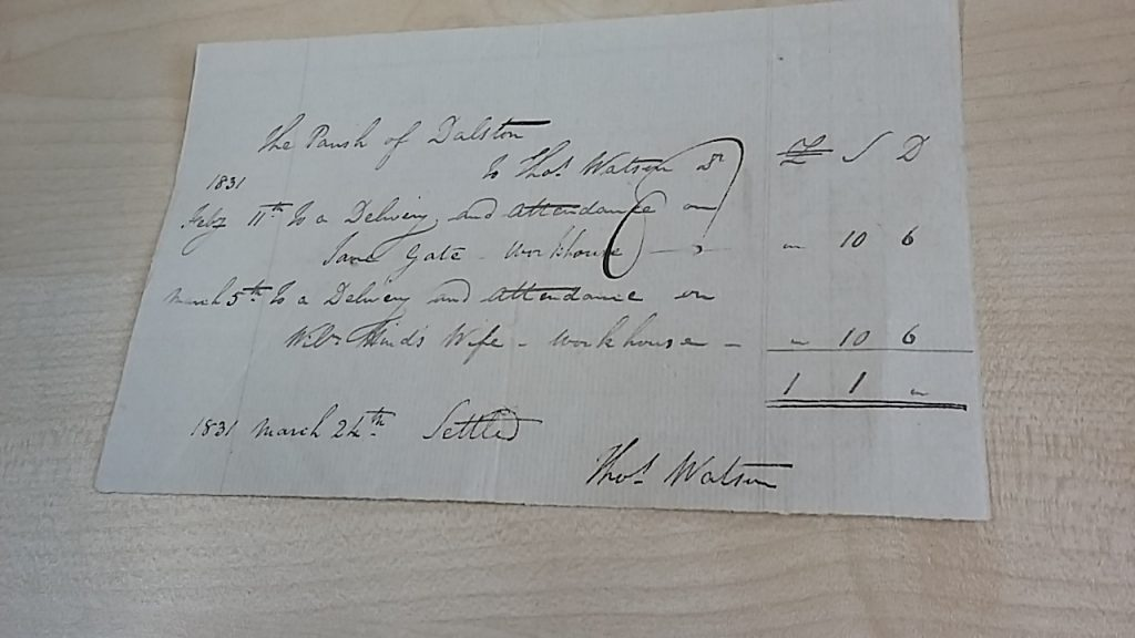 parish of Dalston Voucher from Thomas watson for the Delivery and Attendance of Jane Gate