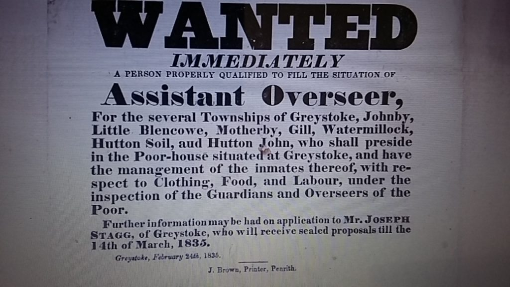 Wanted Assistant Overseer Greystoke Feb 2 1835 PR5/53 15-1