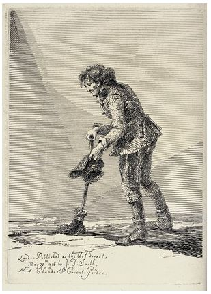 An old man in ragged clothes walks with the aid of a broom in his right hand and begs with a hat in his left hand. Etching by J.T. Smith, 1816. Wellcome Library