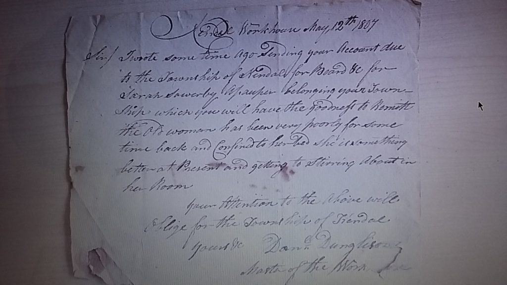 May 12 1807 Letter written by Daniel Dunglinson to Threlkeld Overseers' SPC21/8-11 48A