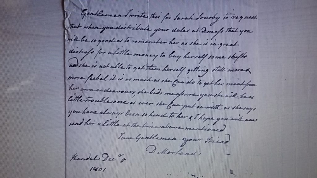 Letter written By D Morland on behalf of Sarah Sowerby from Kendal December 5 1801 SPC21/8-11 23B