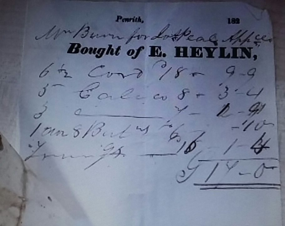 Greystoke Voucher E Heylin Linen & Woolen Draper PR5/54 19B 182? items on bill