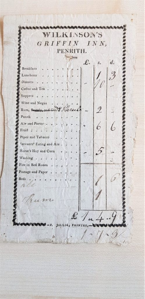 bill for Wilkinson's Griffin Inn items such as ale ,porter hay tobacco